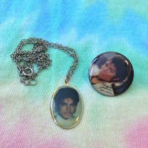80s Michael Jackson Fan Necklace and Pin